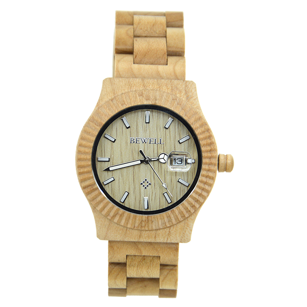 BEWELL Watches Gift Quartz-Movement Sandalwood Luxury with Japan Brand Box as 064A Day-Display