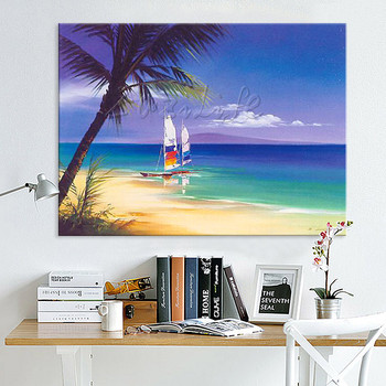 Hand painted abstract oil painting boat ship sailing canvas oil paintings Wall art Pictures for living room modern wallpaper 10