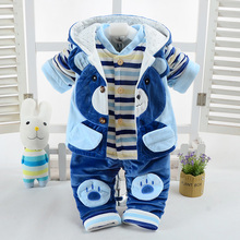 Three Piece Sets Baby Flannel Set Winter Girl boy Cartoon animal Suit Super Thick Warm Coat Pants Clothing