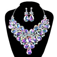 New Gorgeous AB color Crystal Bridal Jewelry Sets Wedding Necklace Earring set for Brides Women Jewellery Necklace set accessory