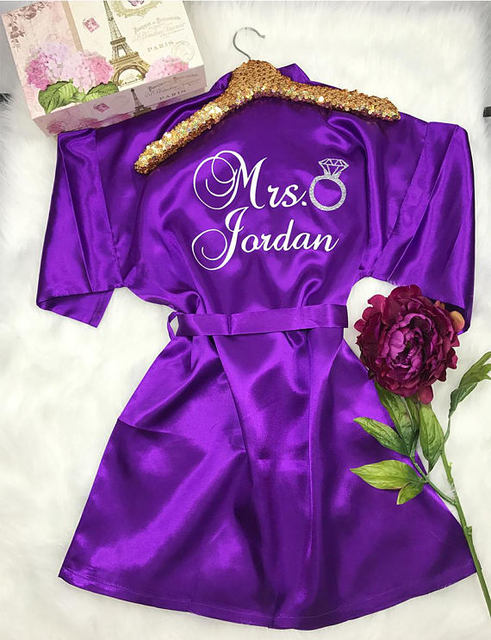 0d500a71bb CUSTOM Future Mrs glitter wedding Bridesmaid bride satin pajamas robes maid  of honor dressing gown kimonos