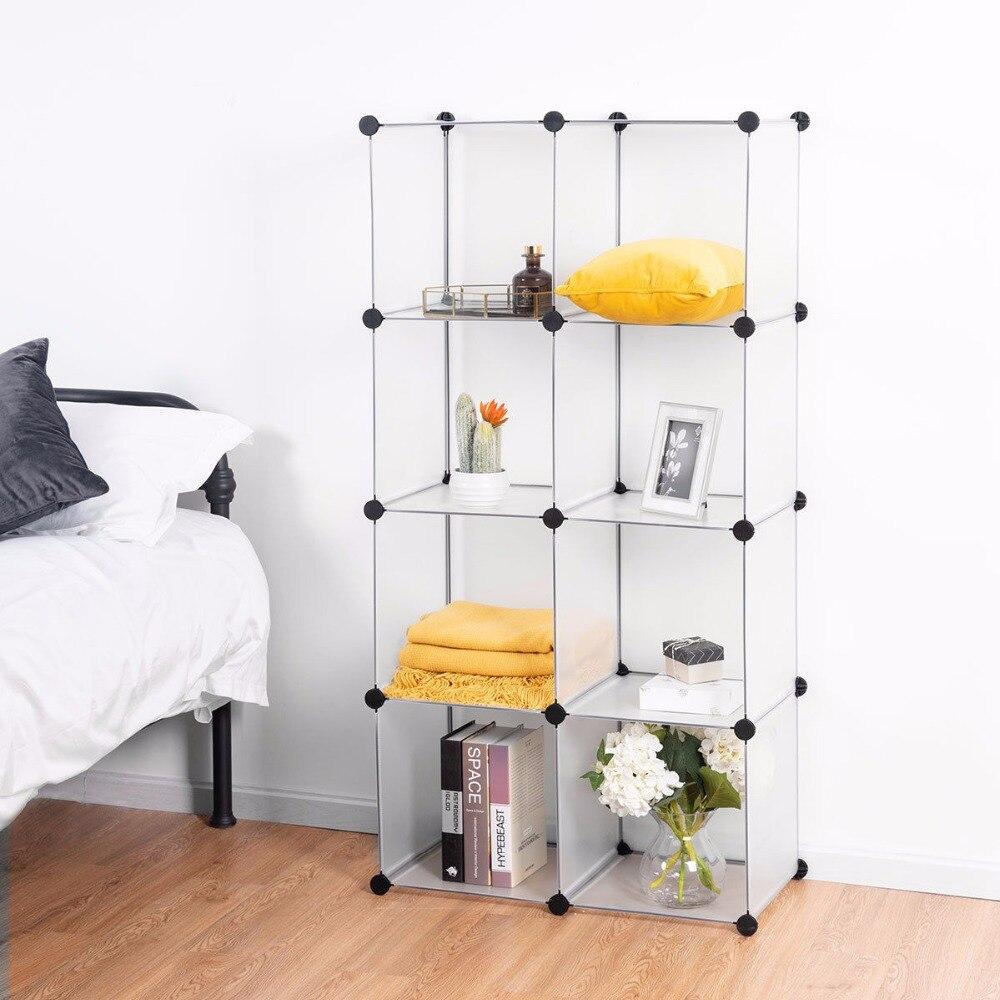 Giantex DIY 8 Cubes Portable Closet Storage Organizer Clothes Wardrobe Cabinet White Home Furniture HW58561