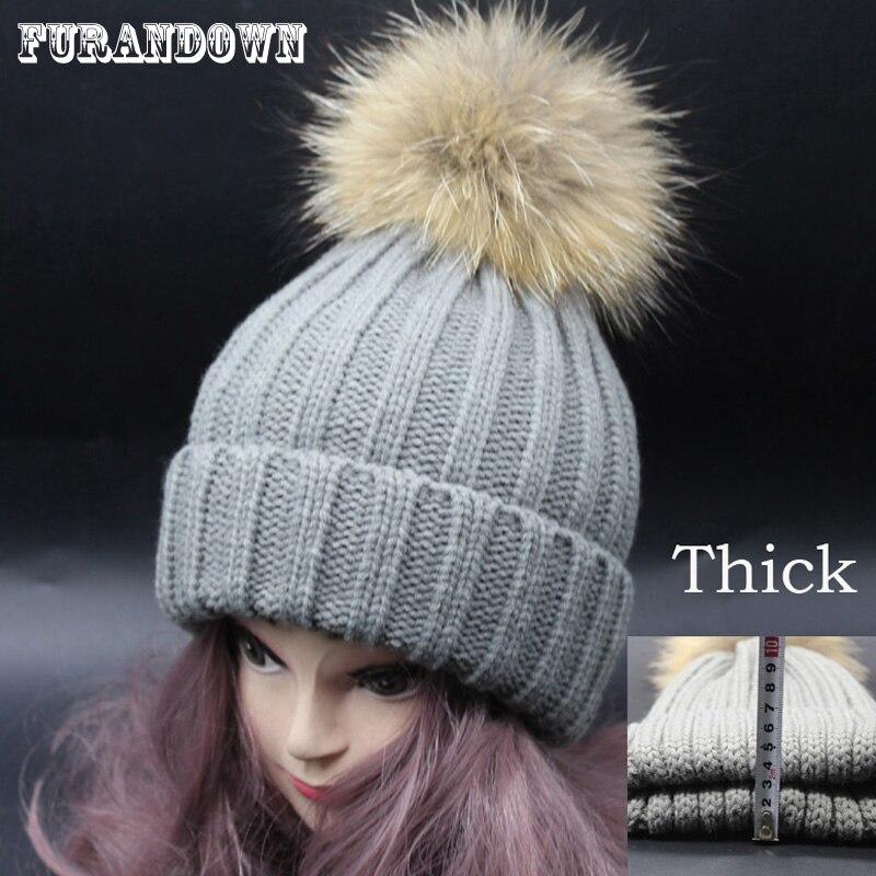Womens Winter Russian Fur Hats Pom Poms Knitting Beanies Skullies Below Zero Warm Thick Mink Fur Hat For Women skullies