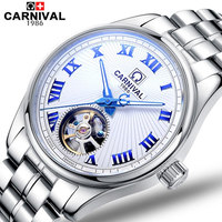 Carnival military automatic tourbillon mechanical watch men luminous full steel luxury popular brand sport watches leather strap