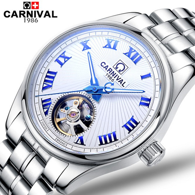 Carnival military automatic tourbillon mechanical watch men luminous full steel luxury popular brand sport watches leather strap wireless service call bell system popular in restaurant ce passed 433 92mhz full equipment watch pager 1 watch 7 call button