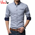 2017 New Spring Cotton Shirts Men High Quality Long Sleeve Slim Fit Shirt Pure Color Modern Casual Camisa Big Size 5XL YN270