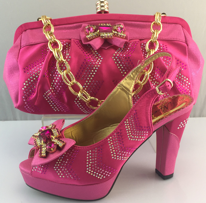 ФОТО 2016 Nice-looking Italian matching shoes and bag set ladies shoes and bag to match for nigerian wedding for Fuchsia ME3308