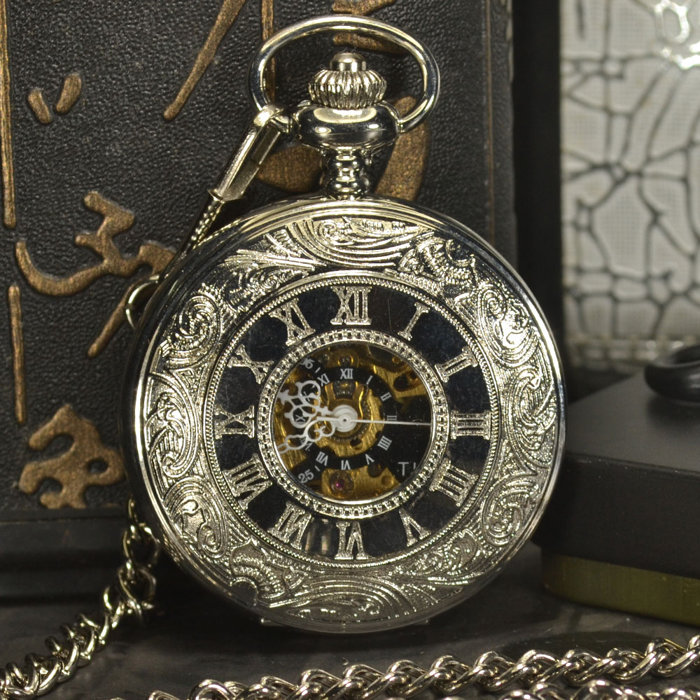 TIEDAN Mechanical Pocket Watch Men Steampunk Luxury Fashion Antique Chain Necklace Romen Numerals Skeleton Pocket Fob Watches