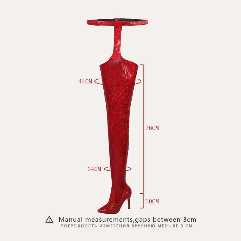 SARAIRIS ใหม่แฟชั่นสีแดงรองเท้าเข็มขัดหัวเข็มขัดสายคล้องรองเท้า Snakeskin ชี้ Toe Super บางสูงรองเท้าส้นสูงรองเท้าส้นสูง Bottine Femme