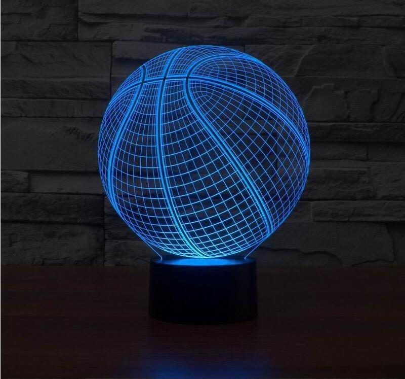 3d Basketball Shape Led Art Sculpture Night Lights Desk