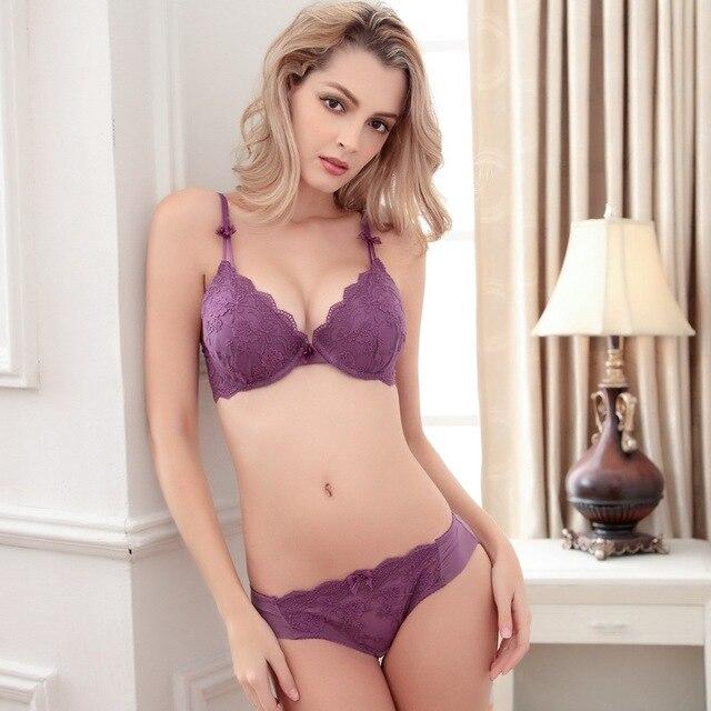 New Sexy bra set Purple pink white black 4 color underwear 3 4 cup bra  foreign Europe bra lace fabrics Push Up Brassiere Ladies b029af586