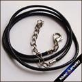 """Comercio al por mayor de Cuero Negro Trenzado cuerda de Collares con Plateado Plata Corchete de la Langosta 2mm 19 5 """"Envío Libre"""