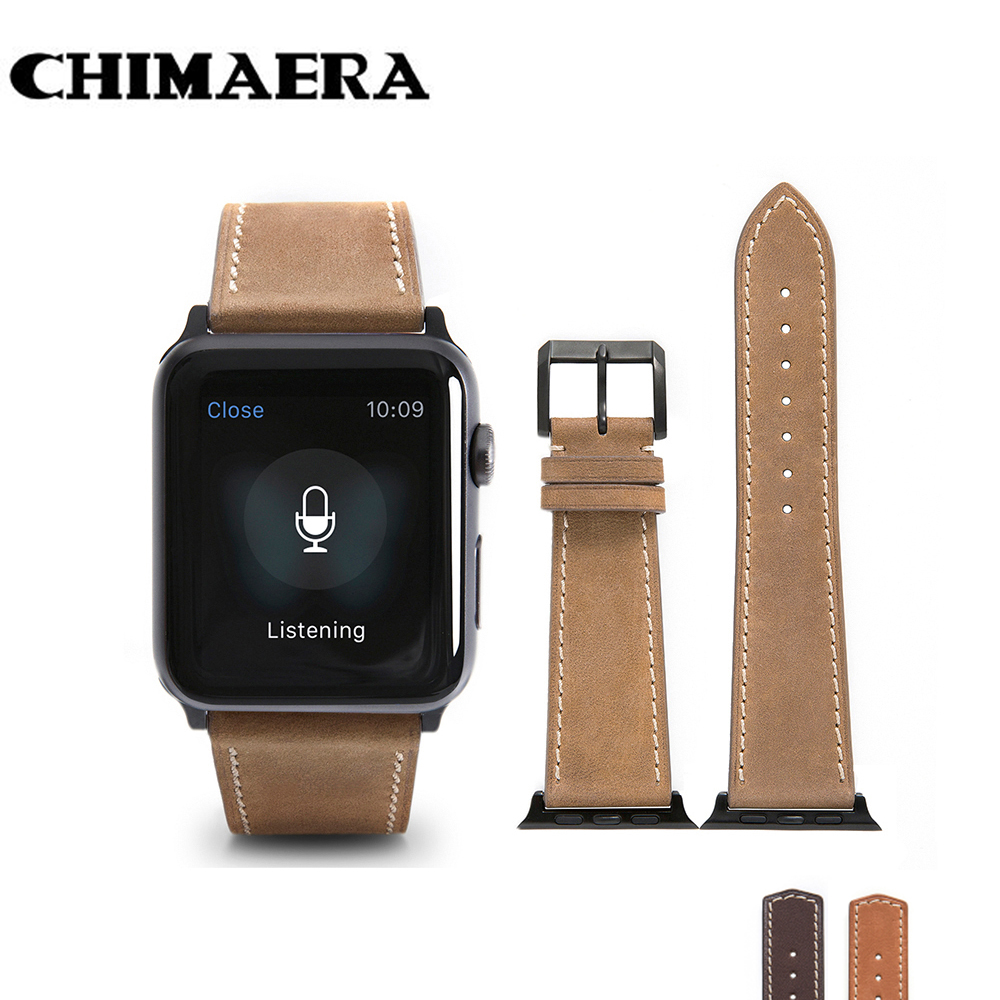 CHIMAERA Yellow  Brown Coffee Genuine leather watch band for Iwatch adapter Link for Apple watch series2 series3 strap 42mm стоимость