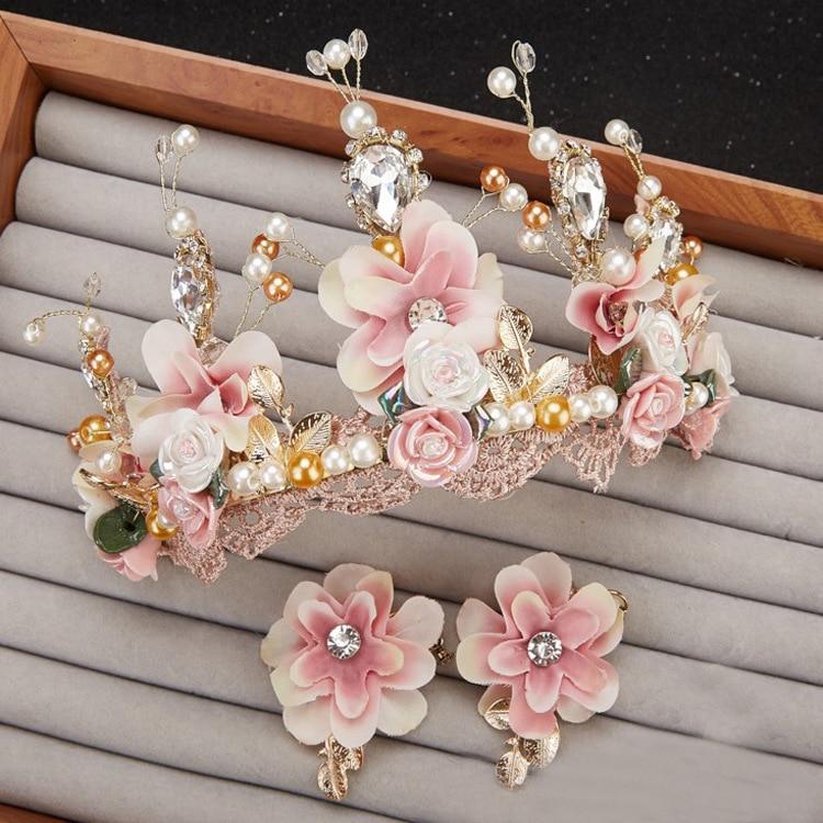 Tatlı pembe gelin el yapımı boncuklu dantel taç corone taç - Kostüm mücevherat - Fotoğraf 4