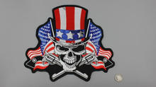 Huge US Flag Skull double Guns Embroidery Patches Motorcycle Biker for Jacket Back RIDE FREE 29.5cm * 25.5 cm