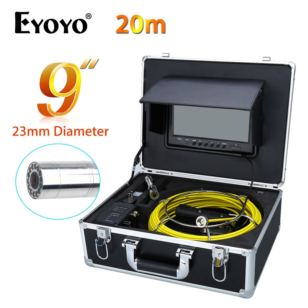 Eyoyo 9 20M HD LCD CMOS 23mm 1000TVL 12V Wall Drain Sewer Pipe Line Inspection Camera System Snake Color Sun shield Endoscope eyoyo 20m 9 lcd 23mm wall drain sewer pipe line inspection camera system snake endoscope cmos 1000tvl hd color tft sun shield