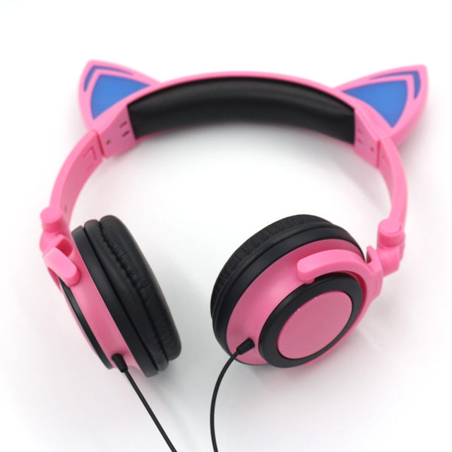 TEAMYO Cat Ear Earphones Headphones Foldable Glowing Headset with LED Light For PC Mobile Phone mp3 Girl Child Audifonos