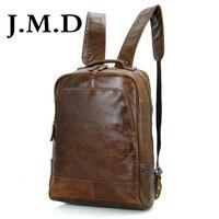 J.M.D 2019 New Arrival 100% Classic Leather Travel Bags Cowboy Genuine Leather Men's Trendy Backpacks Shoulder Bag 7347