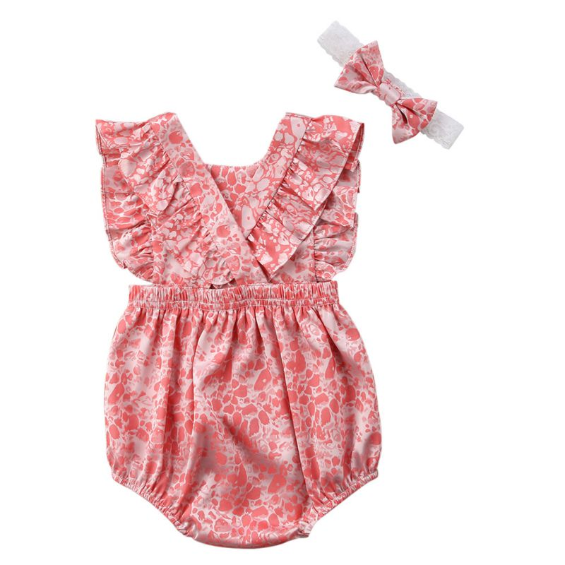 2018 Hot Summer Baby Girls Clothes Sleeveless Sweet Lace Infant Bebes Romper Backless Jumpsuit+Headband 2pcs Outfit Sunsuit