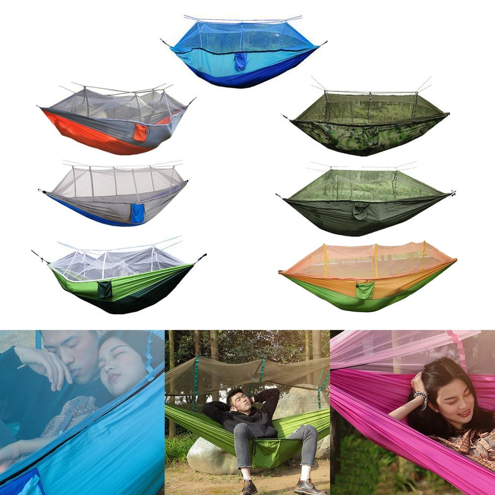 Camping Mosquito Net Hammock Kit Portable Lightweight Parachute Nylon for Outdoors Backpacking Survival or Travel double camping hammock mosquito bug net hammock tree straps carabiners easy assembly portable parachute for survival travel