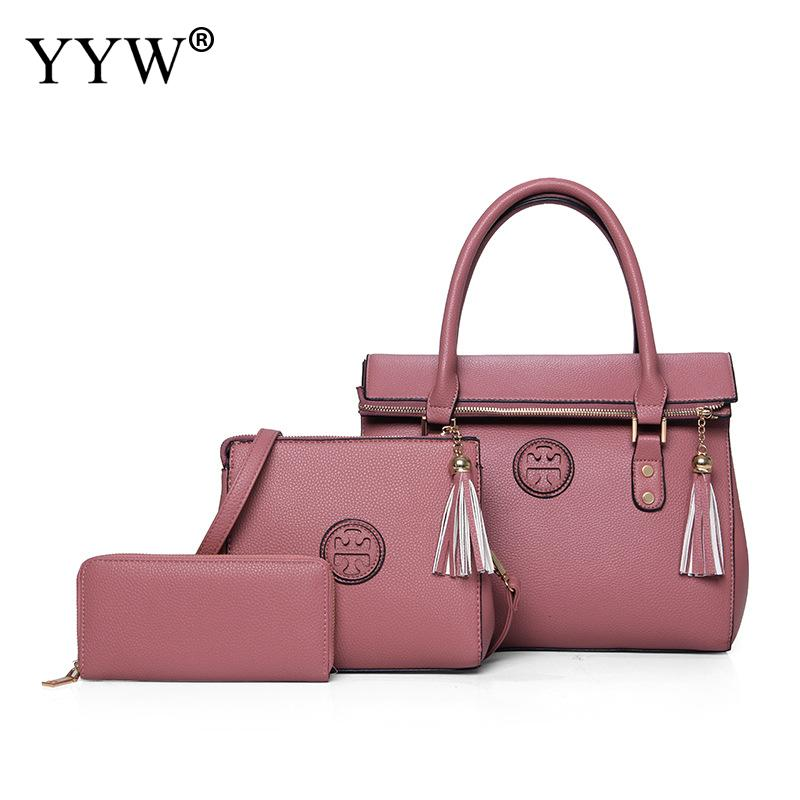 3 PCS/Set Solid Color PU Leather Handbags Women Bag Set Famous Tote Bag Lady's Shoulder Crossbody Bags Womens'Pouch 5 Colors