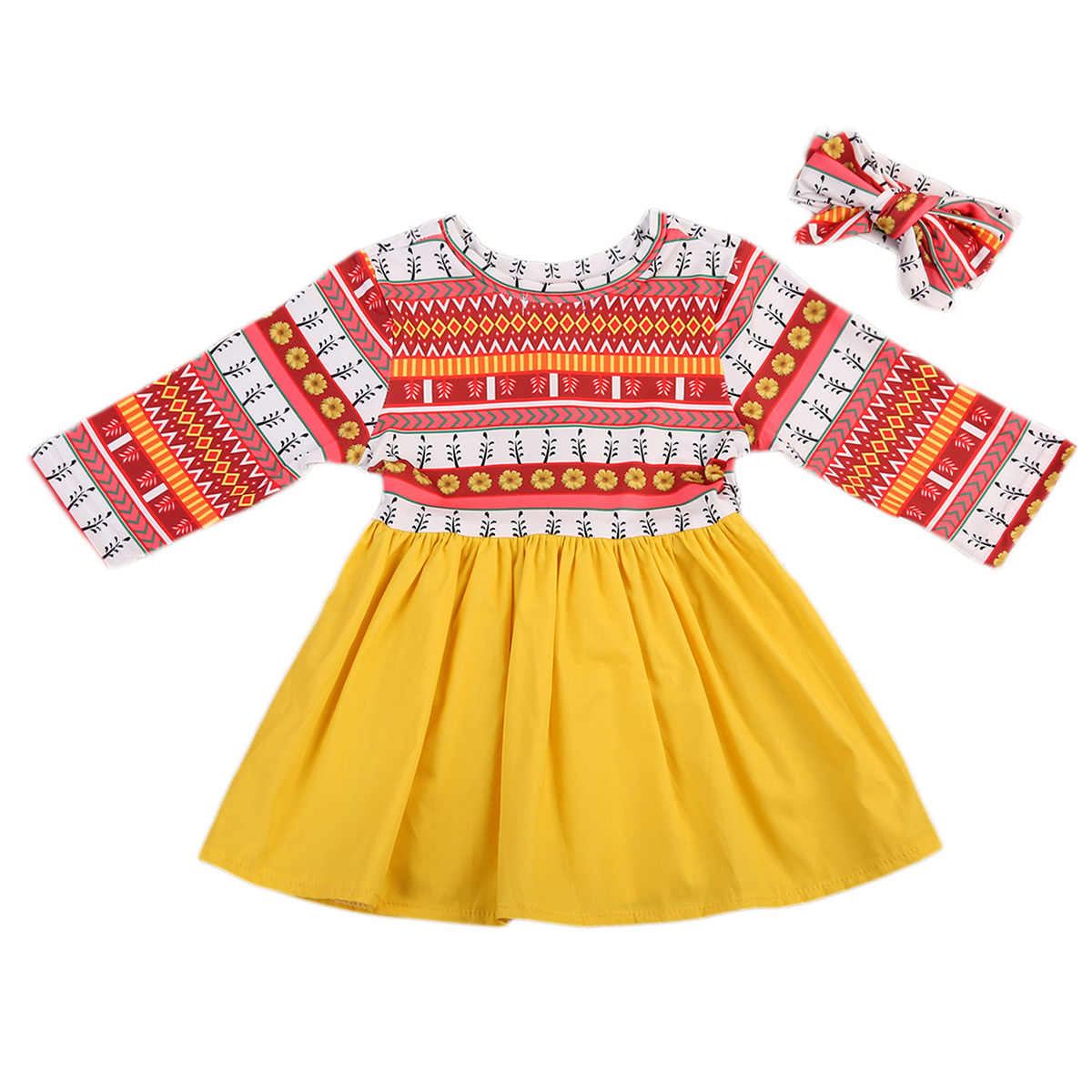 5c29bd94 Pudcoco Fashion Kids Girls Long Sleeve Dress Cute Baby Flower Girl Summer  Exotic Dress Princess Party