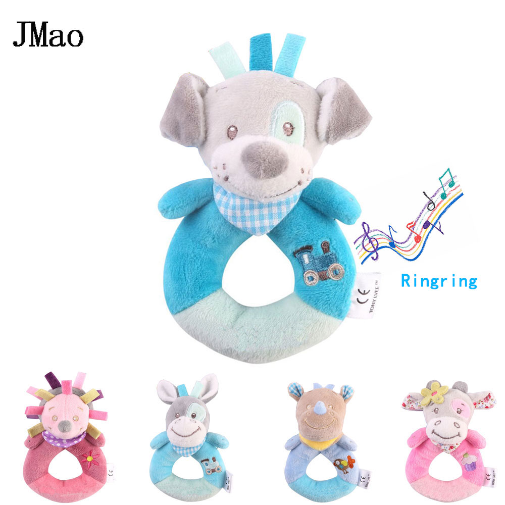 JMao Baby Toys 0-12 Months Animal Rattles Soft Plush Baby Toys Hand Bell Mobile Rattle Early Educational Toy Cartoon Kids Gift