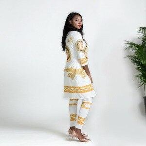 Image 3 - 2019 New African Print Elastic Bazin Baggy Pants Rock Style Dashiki SLeeve Famous Suit For Lady/women coat and leggings 2pcs/se