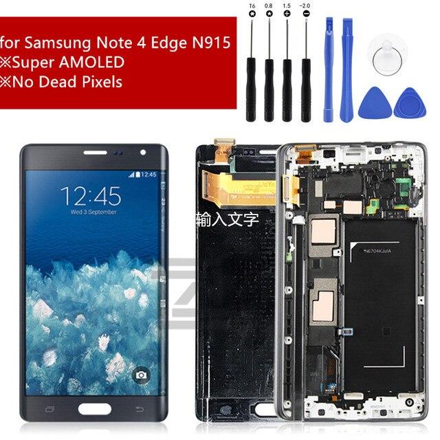 Super Amoled Voor Samsung Galaxy Note 4 Rand Lcd N915 N915FD N915F Lcd Touch Screen Digitizer Vergadering Met Frame Reparatie onderdelen