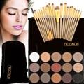 20Pcs Makeup Brushes Set Powder Blush Foundation Eyeliner Lip Brush Gold + 15 Colors Makeup Shimmer Matte Eyeshadow Palette