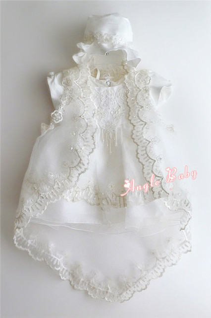 23c48ccb8 Newborn White Polyester Cotton Baby Baptism Dress Baby Girl Formal ...
