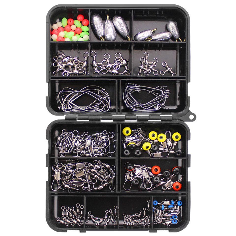 160pcs  Fishing Hooks Swivels Weight Set Fishing Sinker Stoppers Connectors Sequins Lures Fishing Accessories Tackle Box Kit