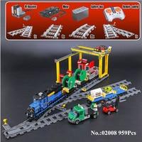 IN STOCK H HXY 02008 The Cargo Train Set 959Pcs City Series Building Blocks Bricks Educational