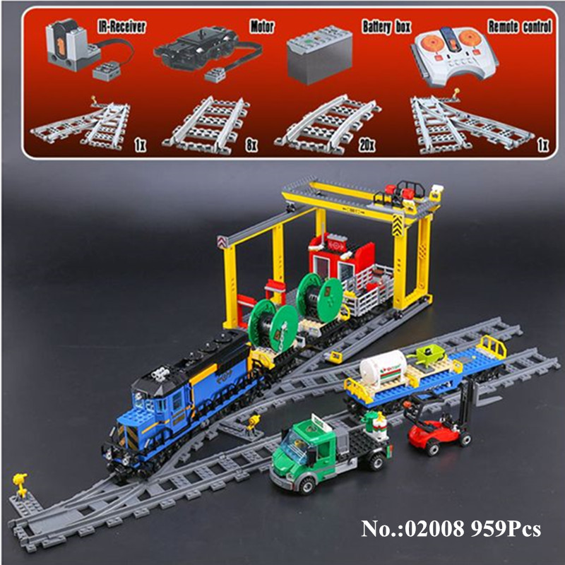 IN STOCK H&HXY 02008 The Cargo Train Set 959Pcs City Series Building Blocks Bricks Educational Toy Children Christmas Gift lepin lepin 02008 the cargo train 959pcs city series legoingly 60052 plate sets building nano blocks bricks toys for boy gift