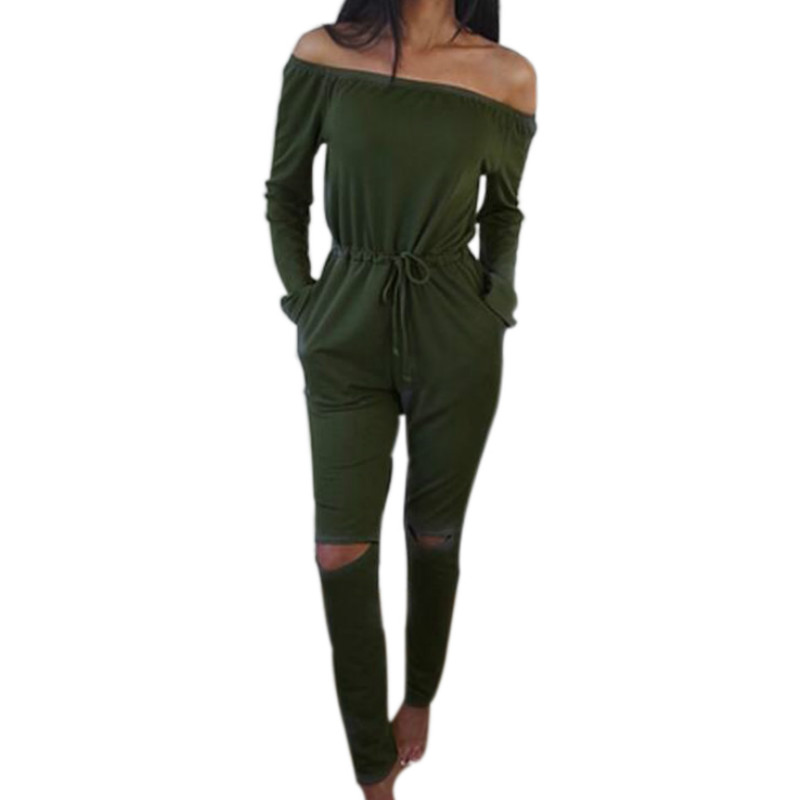 Women Rompers Jumpsuit One Piece Bodysuit 2018 Autumn Jumpsuits Sexy Slash Neck Long Pants Suit Solid Plus Size Overalls LX220