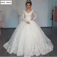Бальное платье в мусульманском стиле с длинным рукавом свадебное платье 2019 с короткой вуалью кружева Бисер свадебное платье невесты платья