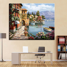 Framework DIY By Numbers Oil Painting Drawing Lakeside Small Town Scenery Coloring Pictures Canvas Calligraphy For Living Room