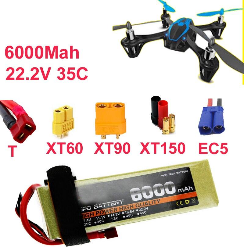 drone battery 6s 35c 22.2v 6000mah aeromodeling battery aircraft li-poly battery 35C low resistance rechargeable fpv battery 8 4v a class 6000mah rechargeable waterproof battery black
