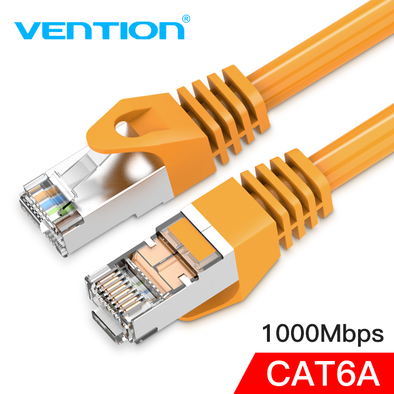 Vention Cat6A Ethernet Cable RJ45 CAT6A Lan Cable rj45 Network Ethernet Patch Cord for Computer Router Laptop Ethernet Cable rj45 8p8c male to male high speed cat6a flat lan network cable purple 1485cm