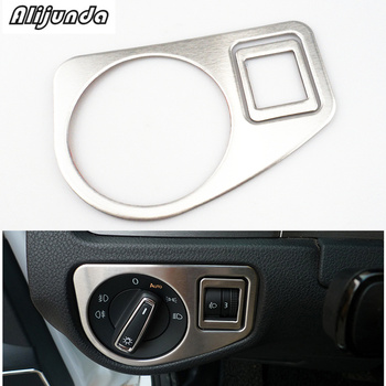 Headlight Button Cover Trim For Volkswagen VW Golf 7 MK7 VII GTI R 2014-2017 Head Lamp Light stainless steel image