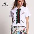Pista Encabeça Mulheres 2017 Camisa Branca T Camisa Top de Lantejoulas Verão Tshirts De Luxo