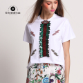 Runway Tops Women 2017 White T Shirt Sequin Top Shirt Summer Luxury Tshirts