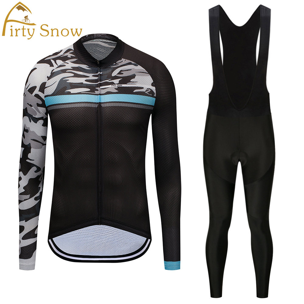 Firty sonw 2018 Pro Team Cycling Jersey Quick Dry Long Sleeve Jerseys And Cycling Bib Pants Set Cycling Clothes Breathable