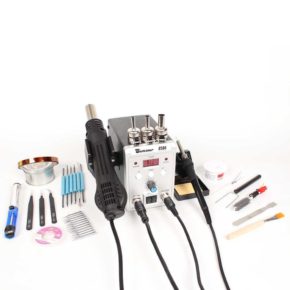 Station de soudure 8586 2in1 fers à souder électriques pistolet à Air chaud SMD reprise soudure dessoudage Machine à souder Kit d'outils de réparation