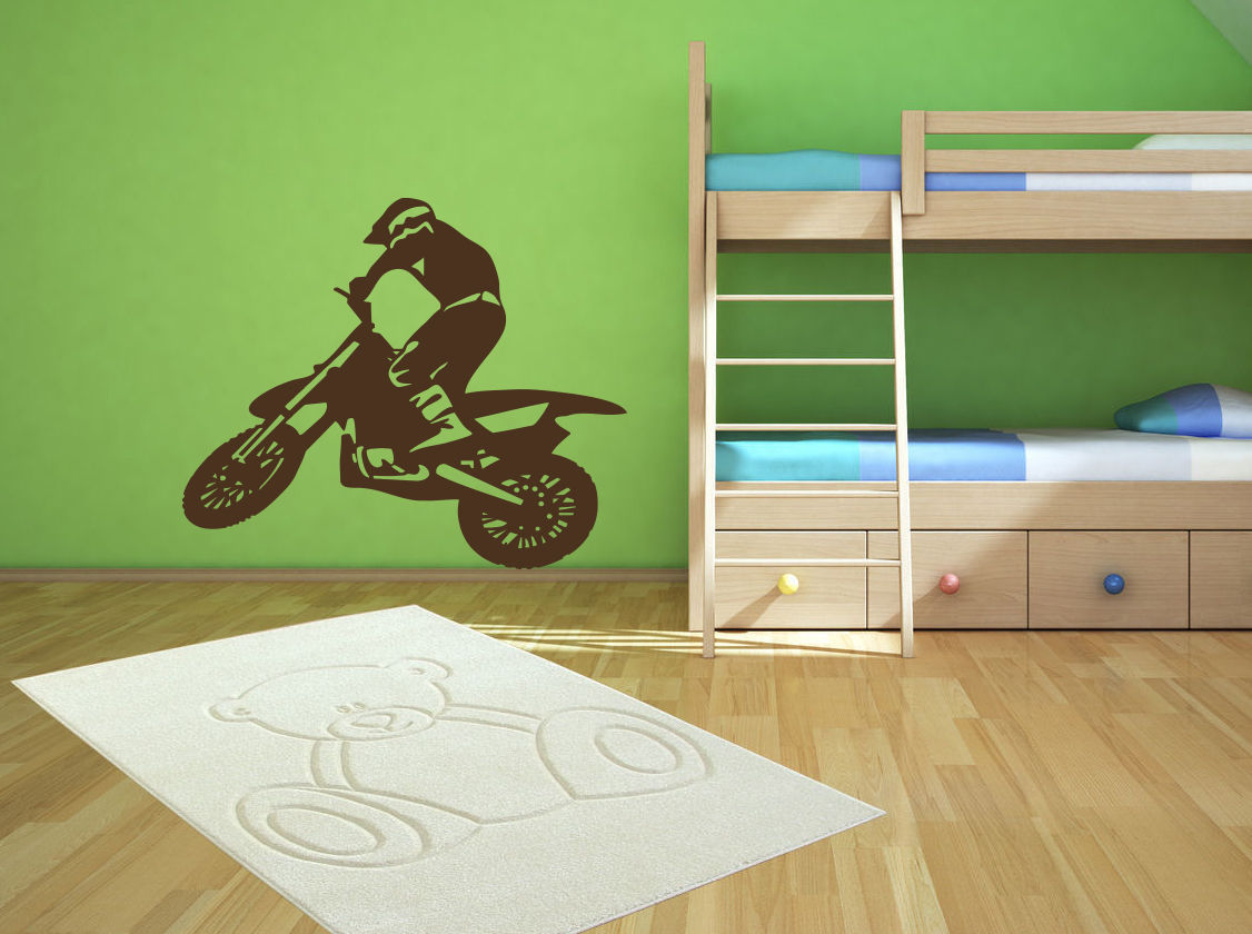 D370 Sport bike trial racing cyclist motorcycle Stylish Wall Art Sticker Decal ...