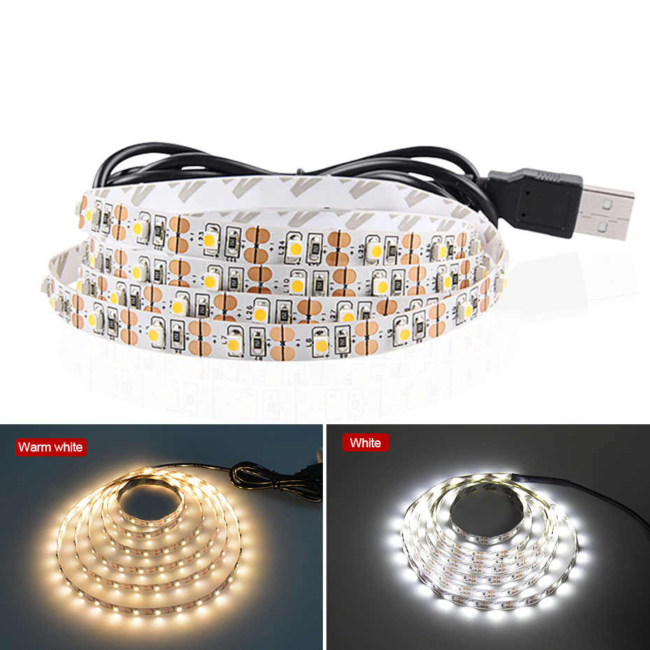 LED Strip Usb 1M 2M 3M 4M 5M Tahan Air 5V Putih/Warm White 2835 3528 Flexible LED Strip Light Tape untuk TV Pencahayaan Latar Belakang