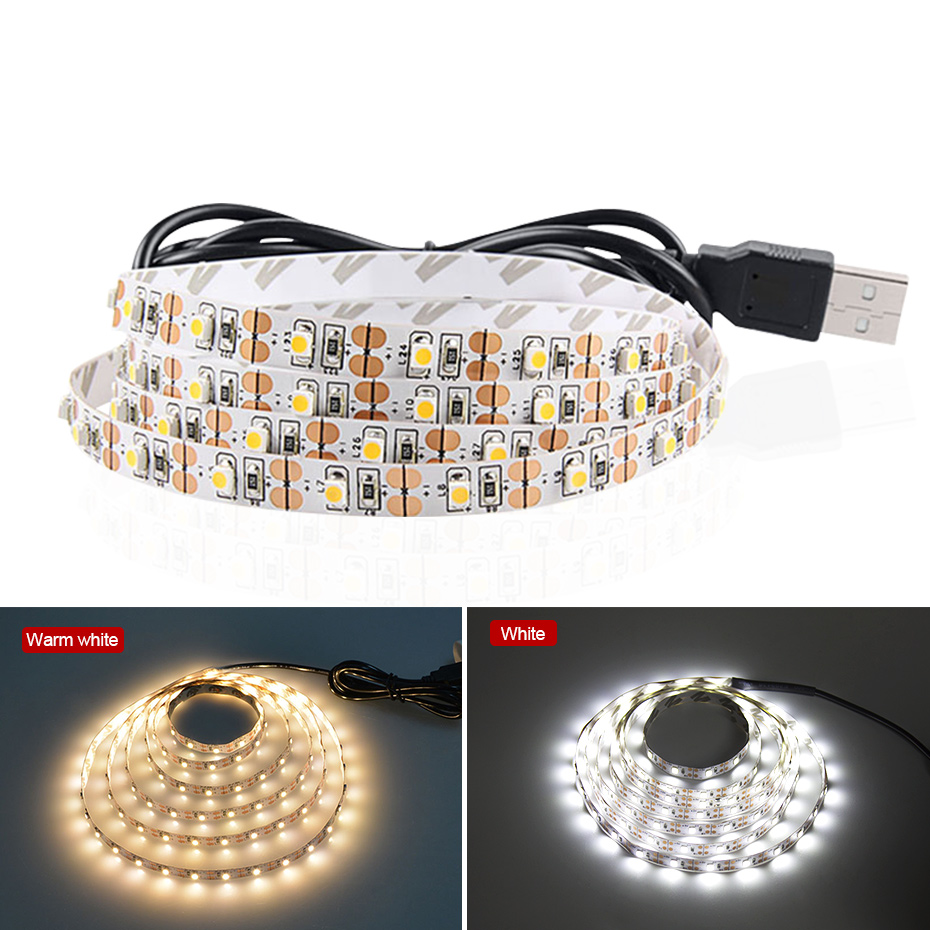 LED Strip USB 1M 2M 3M 4M 5M Waterproof 5V Warm White/White 2835 3528 Flexible Led Strip Light Tape For TV Background Lighting