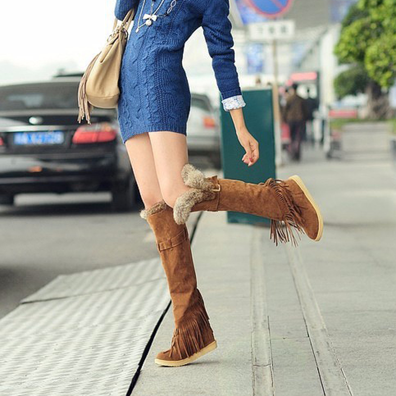 Fashion Scrub Fur Snow Boots Women Wedges Over the Knee Thigh High Boots Winter Thermal Female Fringed Shoes Warm Plus Size 43 high neck fringed ribbed plus size sweater