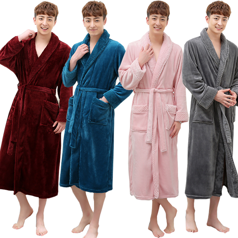 4c76b45fea Hot Selling Men Women Super Soft Winter Long Warm Coral Flannel Bath Robe  Mens Kimono Bathrobe Male Dressing Gown Lovers Robes-in Robes from  Underwear ...