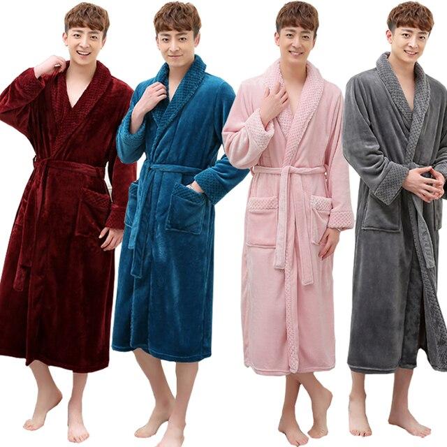 Hot Selling Men Women Super Soft Winter Long Warm Coral Flannel Bath Robe  Mens Kimono Bathrobe Male Dressing Gown Lovers Robes fff8f2957
